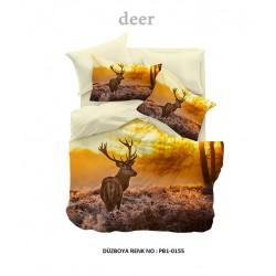 Lenjerie Dubla Digital Deer+set 2 prosoape 50x70