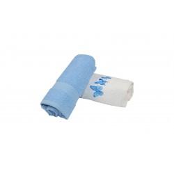 Set 2 prosoape 50x60 alb/bleu