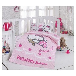 Lenjerie Hello Kitty Ribbon+Cearceaf Hello Kitty+1 fata perna